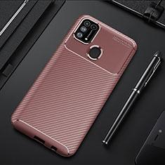 Custodia Silicone Cover Morbida Spigato T01 per Samsung Galaxy M21s Marrone