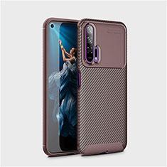 Custodia Silicone Cover Morbida Spigato Y01 per Huawei Honor 20 Pro Marrone