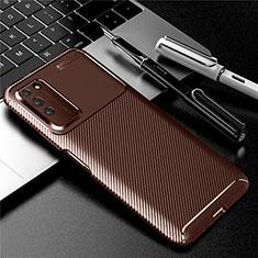 Custodia Silicone Cover Morbida Spigato Y01 per Huawei Honor X10 5G Marrone