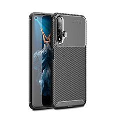 Custodia Silicone Cover Morbida Spigato Y01 per Huawei Nova 5T Nero
