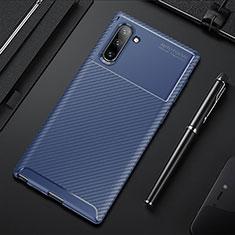 Custodia Silicone Cover Morbida Spigato Y01 per Samsung Galaxy Note 10 5G Blu
