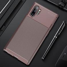 Custodia Silicone Cover Morbida Spigato Y01 per Samsung Galaxy Note 10 Plus 5G Marrone