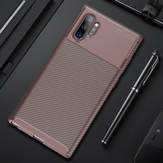 Custodia Silicone Cover Morbida Spigato Y01 per Samsung Galaxy Note 10 Plus Marrone