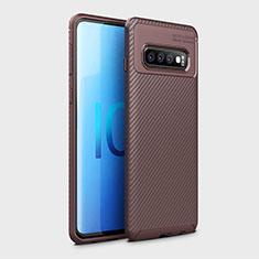 Custodia Silicone Cover Morbida Spigato Y01 per Samsung Galaxy S10 Marrone