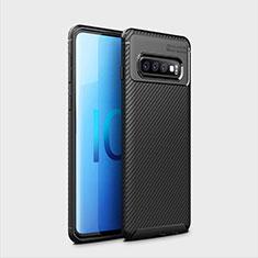Custodia Silicone Cover Morbida Spigato Y01 per Samsung Galaxy S10 Plus Nero