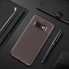 Custodia Silicone Cover Morbida Spigato Y01 per Samsung Galaxy S10e Marrone