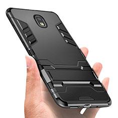 Custodia Silicone e Plastica Opaca con Anello Supporto A01 per Samsung Galaxy Amp Prime 3 Nero