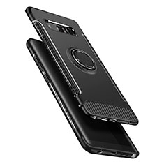 Custodia Silicone e Plastica Opaca con Anello Supporto A01 per Samsung Galaxy Note 8 Duos N950F Nero