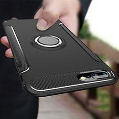 Custodia Silicone e Plastica Opaca con Anello Supporto A03 per Apple iPhone 7 Plus Nero