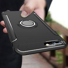 Custodia Silicone e Plastica Opaca con Anello Supporto A03 per Apple iPhone 8 Plus Nero