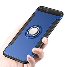 Custodia Silicone e Plastica Opaca con Anello Supporto per Huawei Honor 10 Blu