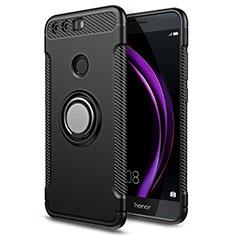 Custodia Silicone e Plastica Opaca con Anello Supporto per Huawei Honor 8 Nero
