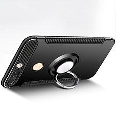 Custodia Silicone e Plastica Opaca con Anello Supporto per Huawei Honor 8 Pro Nero