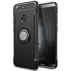 Custodia Silicone e Plastica Opaca con Anello Supporto per Huawei Honor 9 Lite Nero