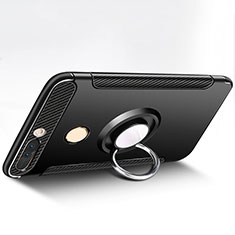 Custodia Silicone e Plastica Opaca con Anello Supporto per Huawei Honor V9 Nero