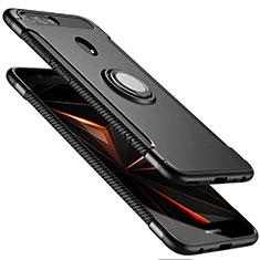 Custodia Silicone e Plastica Opaca con Anello Supporto per Huawei Nova 2 Plus Nero