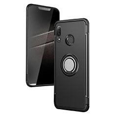 Custodia Silicone e Plastica Opaca con Anello Supporto per Huawei P Smart+ Plus Nero