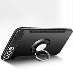 Custodia Silicone e Plastica Opaca con Anello Supporto per Huawei P10 Plus Nero
