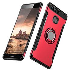 Custodia Silicone e Plastica Opaca con Anello Supporto per Huawei P9 Plus Rosso