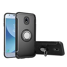 Custodia Silicone e Plastica Opaca con Anello Supporto per Samsung Galaxy J5 (2017) SM-J750F Nero