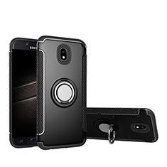 Custodia Silicone e Plastica Opaca con Anello Supporto per Samsung Galaxy J5 Pro (2017) J530Y Nero