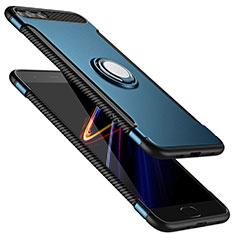 Custodia Silicone e Plastica Opaca con Anello Supporto per Xiaomi Mi 6 Blu