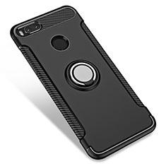 Custodia Silicone e Plastica Opaca con Anello Supporto per Xiaomi Mi A1 Nero