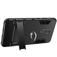 Custodia Silicone e Plastica Opaca con Anello Supporto per Xiaomi Pocophone F1 Nero