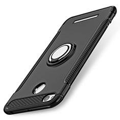 Custodia Silicone e Plastica Opaca con Anello Supporto per Xiaomi Redmi 3 High Edition Nero