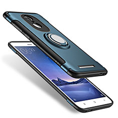 Custodia Silicone e Plastica Opaca con Anello Supporto per Xiaomi Redmi Note 3 MediaTek Blu