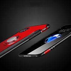 Custodia Silicone e Plastica Opaca con Anello Supporto T01 per Apple iPhone X Rosso