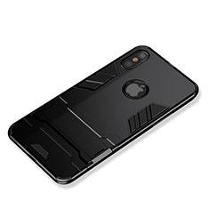 Custodia Silicone e Plastica Opaca con Supporto per Apple iPhone Xs Max Nero