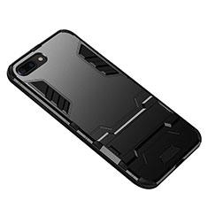 Custodia Silicone e Plastica Opaca con Supporto per Huawei Honor 10 Nero