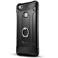 Custodia Silicone e Plastica Opaca con Supporto per Huawei Honor 8 Lite Nero