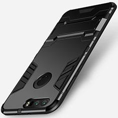 Custodia Silicone e Plastica Opaca con Supporto per Huawei Honor 8 Nero