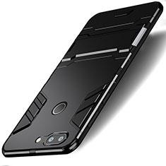 Custodia Silicone e Plastica Opaca con Supporto per Huawei Honor 9 Lite Nero