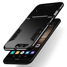 Custodia Silicone e Plastica Opaca con Supporto per Huawei Honor 9 Premium Nero