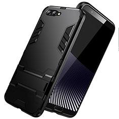 Custodia Silicone e Plastica Opaca con Supporto per Huawei Honor V10 Nero