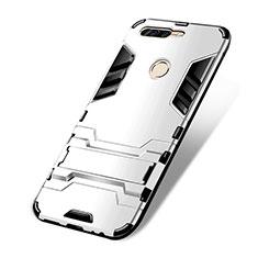 Custodia Silicone e Plastica Opaca con Supporto per Huawei Honor V9 Bianco