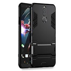 Custodia Silicone e Plastica Opaca con Supporto per Huawei Mate 10 Lite Nero
