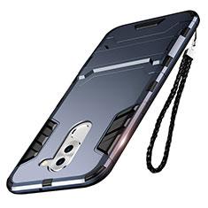 Custodia Silicone e Plastica Opaca con Supporto per Huawei Mate 9 Lite Blu