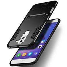 Custodia Silicone e Plastica Opaca con Supporto per Huawei Mate 9 Lite Nero
