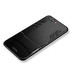 Custodia Silicone e Plastica Opaca con Supporto per Huawei Nova 2S Nero