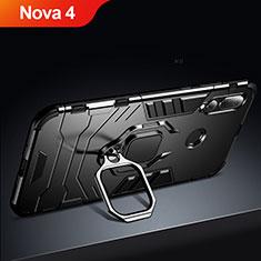 Custodia Silicone e Plastica Opaca con Supporto per Huawei Nova 4 Nero