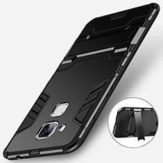 Custodia Silicone e Plastica Opaca con Supporto per Huawei Nova Plus Nero