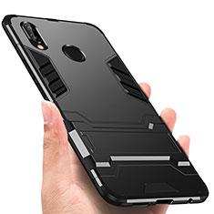 Custodia Silicone e Plastica Opaca con Supporto per Huawei P Smart+ Plus Nero