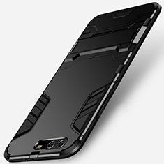 Custodia Silicone e Plastica Opaca con Supporto per Huawei P10 Plus Nero