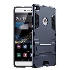 Custodia Silicone e Plastica Opaca con Supporto per Huawei P8 Nero