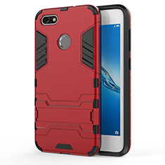 Custodia Silicone e Plastica Opaca con Supporto per Huawei P9 Lite Mini Rosso