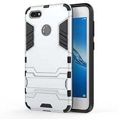Custodia Silicone e Plastica Opaca con Supporto per Huawei Y6 Pro (2017) Bianco
